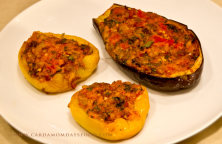 stuffed pepper and aubergine