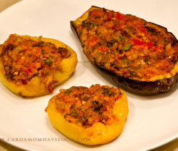 stuffed pepper and aubergine